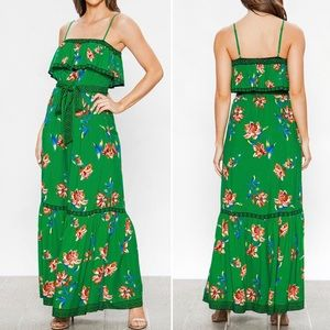 ✅NEW✅ Green Floral Maxi Dress